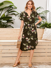 Load image into Gallery viewer, SHEIN Notched Neck Curved Hem Self Belted Floral Print Dress