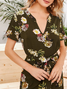 SHEIN Notched Neck Curved Hem Self Belted Floral Print Dress