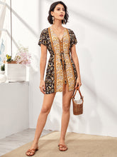 Load image into Gallery viewer, Tribal Print Drawstring Waist Fitted Dress