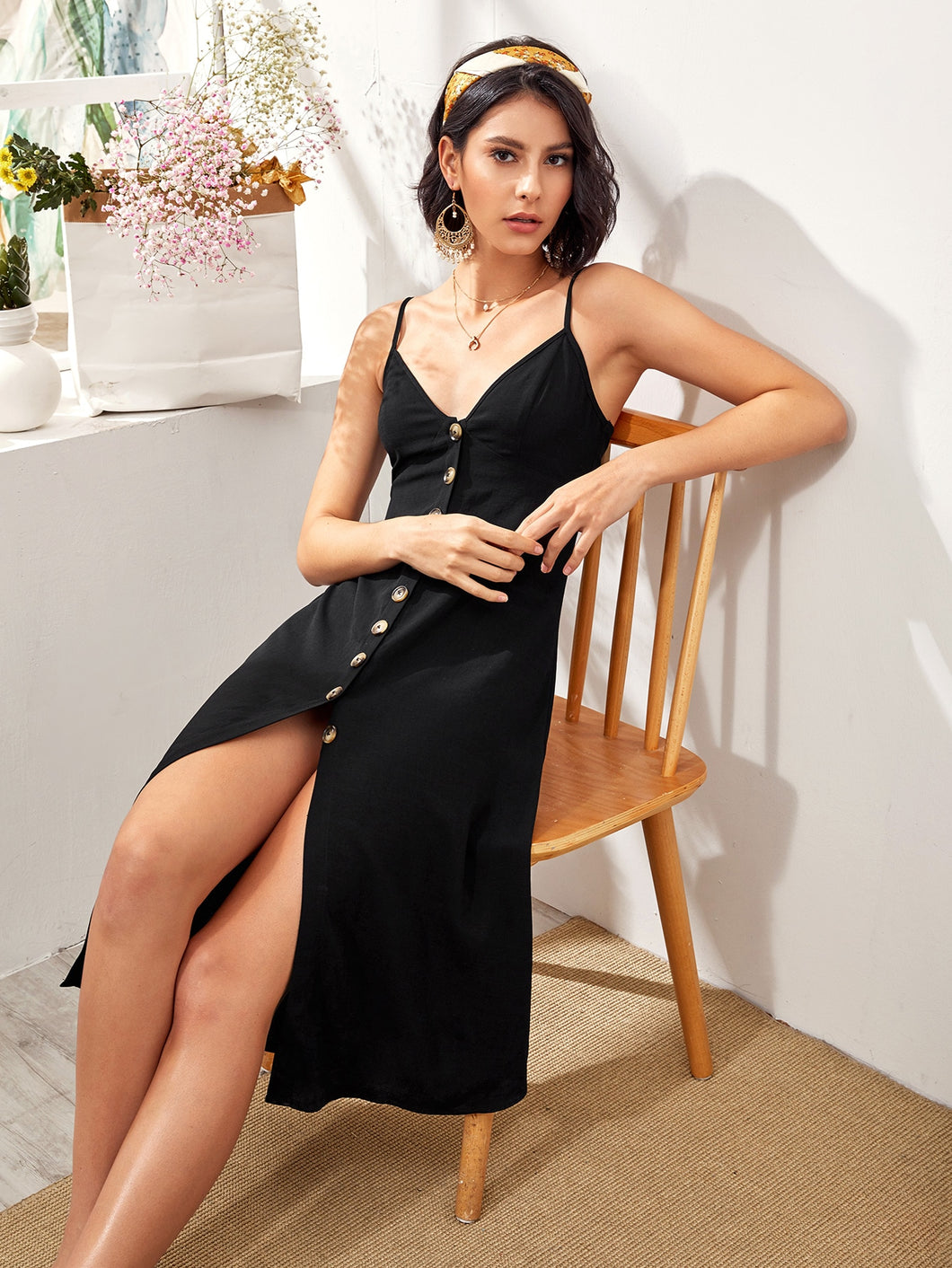 SHEIN Single Breasted Split Hem Slip Dress