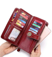 Load image into Gallery viewer, Large capacity leather wallet with RFID protection Anti-theft and anti-swipe card