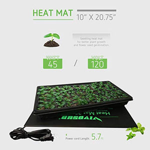 "VIVOSUN Durable Waterproof Seedling Heat Mat Warm Hydroponic Heating Pad 10"" x 20.75"" MET Standard"