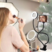 "Load image into Gallery viewer, Aduro U-Stream Selfie Ring Light with 24"" Gooseneck Stand & Cell Phone Holder, Social Media Influencer Live-Streaming Phone Mount and Light Kit"