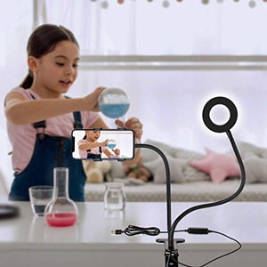 "Aduro U-Stream Selfie Ring Light with 24"" Gooseneck Stand & Cell Phone Holder, Social Media Influencer Live-Streaming Phone Mount and Light Kit"