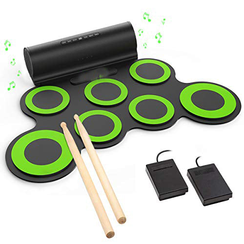 Electronic Drum Set, Roll Up Drum Practice Pad Midi Drum Kit with Headphone Jack Built-in Speaker Drum Pedals Drum Sticks 10 Hours Playtime