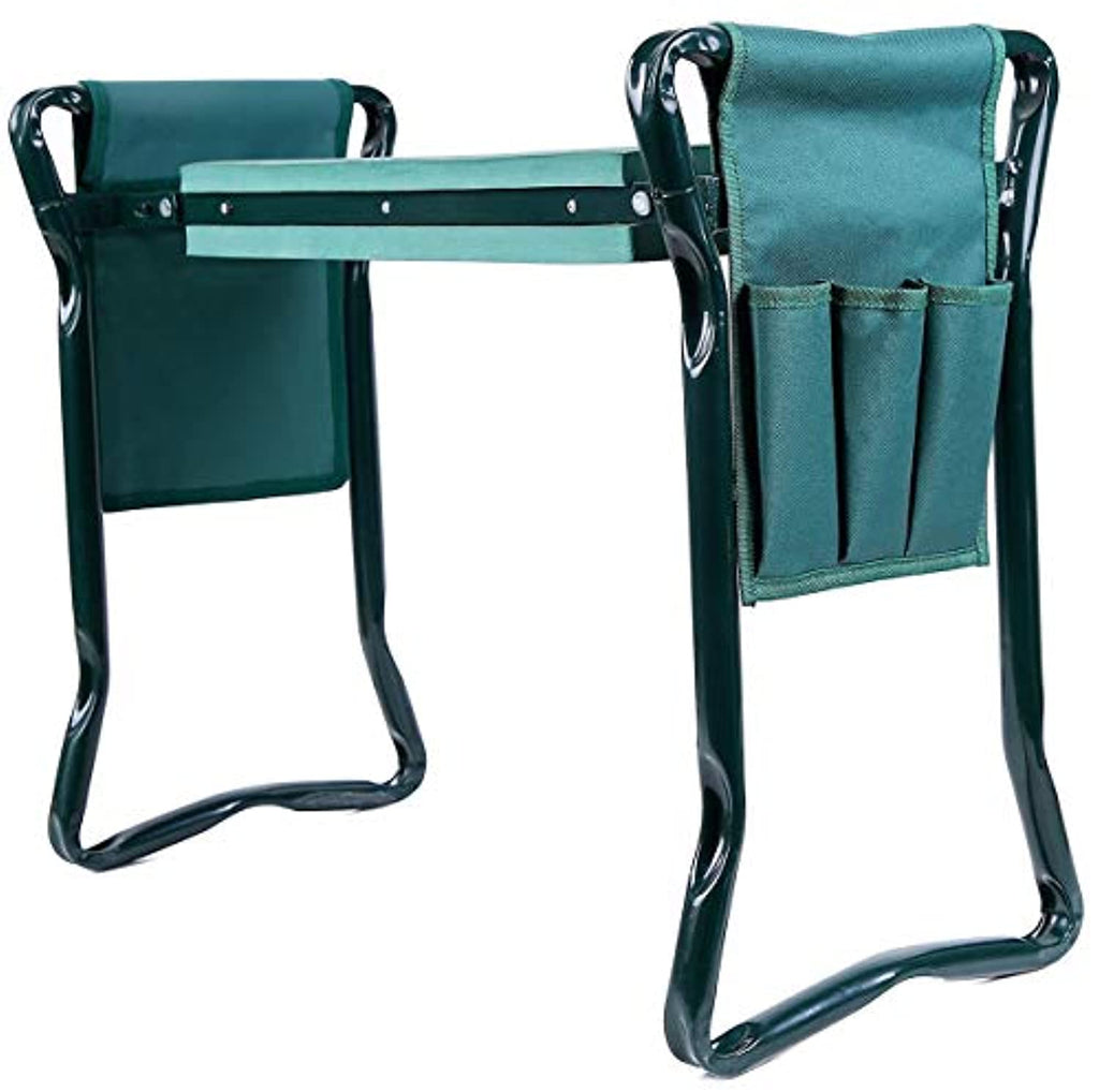Garden Kneeler and Seat with 2 Bonus Tool Pouches, Foldable Garden Bench Stools, Portable Kneeler for Gardening Gardeners