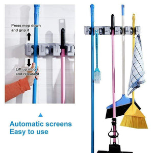 Wall Mounted, 6 Hook, 5 Slot Mop Broom Holder Tool