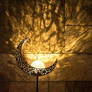 Garden Solar Lights Pathway Outdoor Moon Crackle Glass Globe Stake Metal Lights,Waterproof Warm White LED for Lawn,Patio or Courtyard (Bronze)