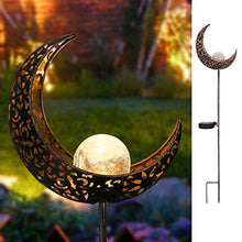 Load image into Gallery viewer, Garden Solar Lights Pathway Outdoor Moon Crackle Glass Globe Stake Metal Lights,Waterproof Warm White LED for Lawn,Patio or Courtyard (Bronze)