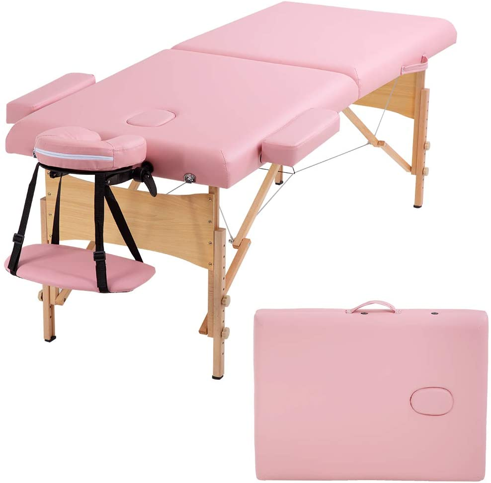 Massage Table Portable Massage Bed Spa Bed 73 Inches Long 28 Inchs Wide Hight Adjustable Massage Table 2 Folding Massage Bed