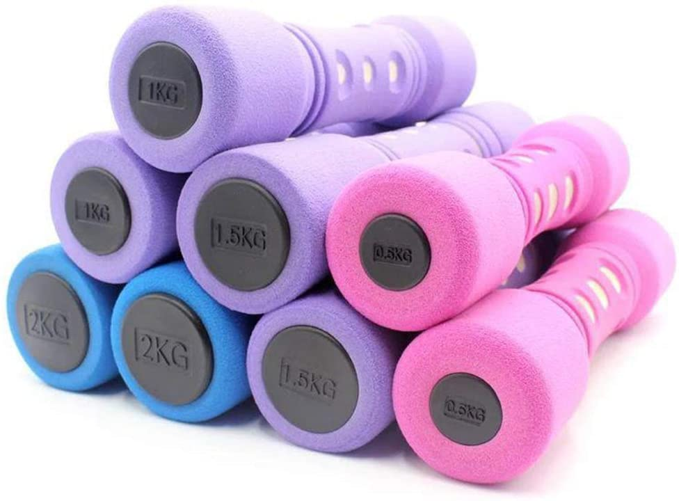 Meet World YUNPENG Lasting Aerobics - Neoprene Dumbbells (Pair) 1Kg Dumbbell Set - Non-Slip (Color: Purple, Pink, Blue),Pink