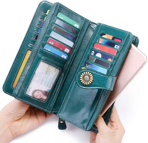 Large capacity leather wallet with RFID protection Anti-theft and anti-swipe card