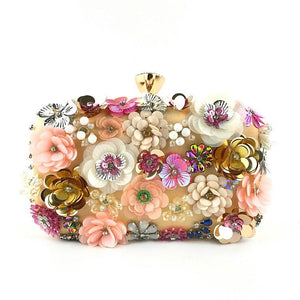 Flower Clutches Sequins Champagne Evening Bag Handmade Envelope Purses for Women
