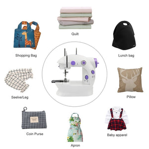 Mini Sewing Machine, AU Plug Portable Electric Sewing Machine with Lamp and Thread Cutter, High & Low Speeds, Battery or Adapter