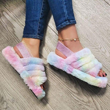 Load image into Gallery viewer, Women Fluff Yeah Slide Cotton slippers Fashion Sexy Wild Outdoor Women's Suede Slippers Back Strap Flat Heel 2020 New Fashion Spring and autumn