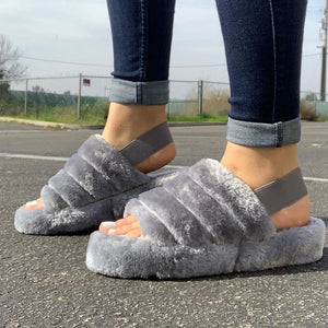 Women Fluff Yeah Slide Cotton slippers Fashion Sexy Wild Outdoor Women's Suede Slippers Back Strap Flat Heel 2020 New Fashion Spring and autumn