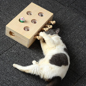 Wood Cat Hit Gophers toys Interactive Catch Mouse Game