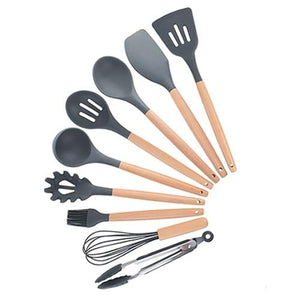 HF™ Premium Silicone Wooden Cooking Utensils Set With Utensil Holder - FREE SHIPPING