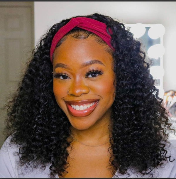 Natural Kinky Curly Headband Wig