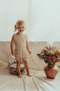 Ribbed Cotton Romper - Natural