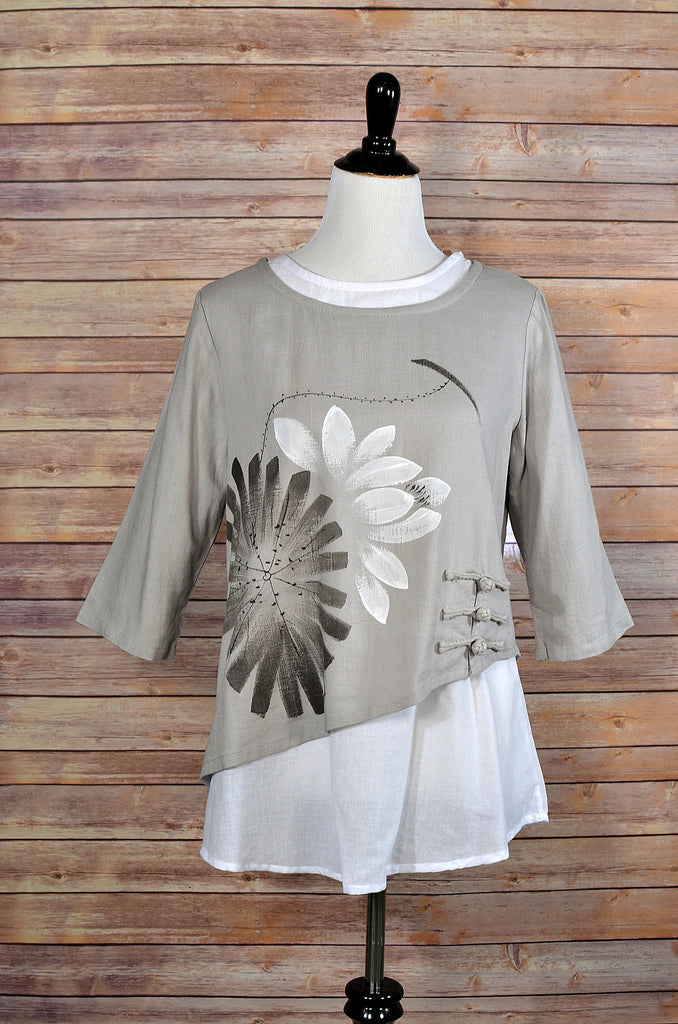 Cotton/Linen Hand Painted Layered Top