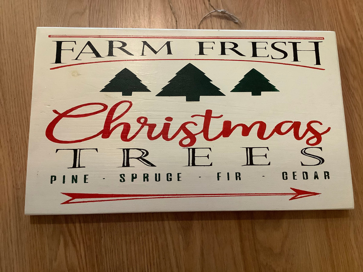 Farm fresh tree wood sign