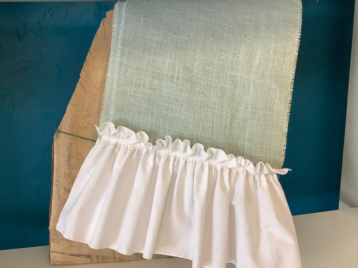 Aqua burlap with white ruffle runner - 72""