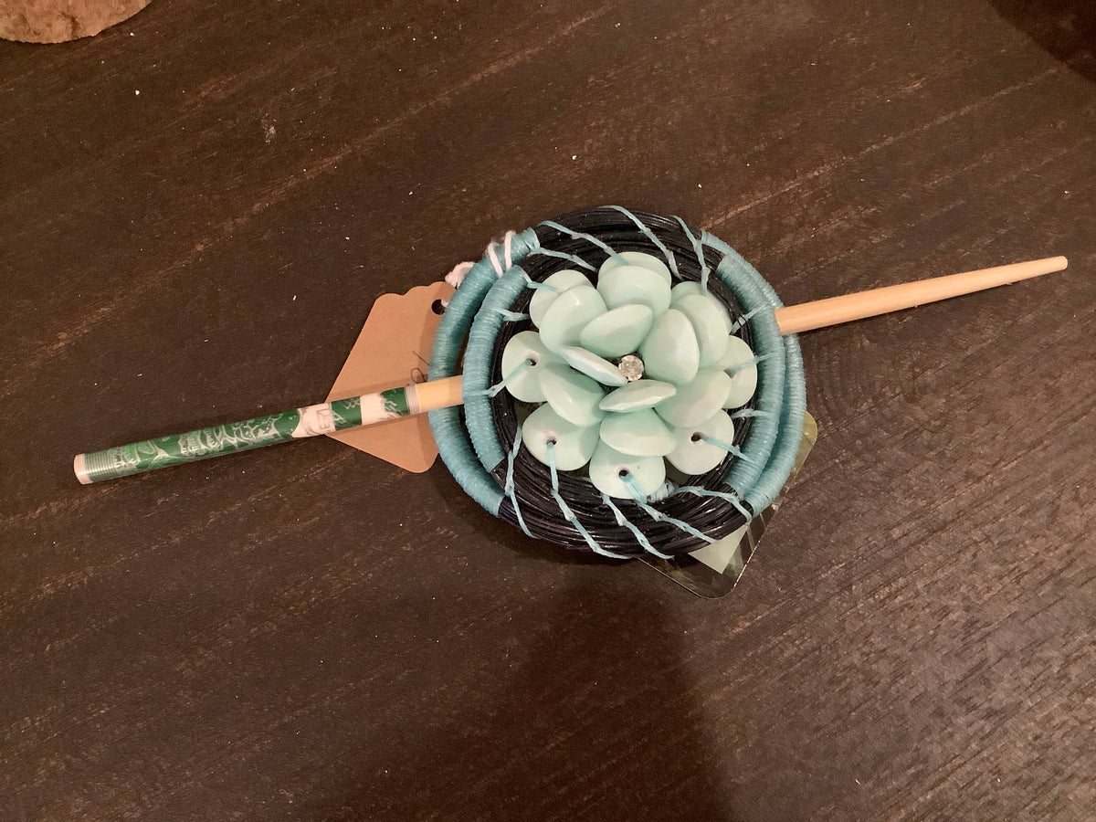 Light blue flower pine needle hair pin