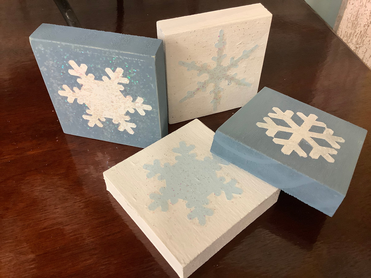 Wood block snowflake