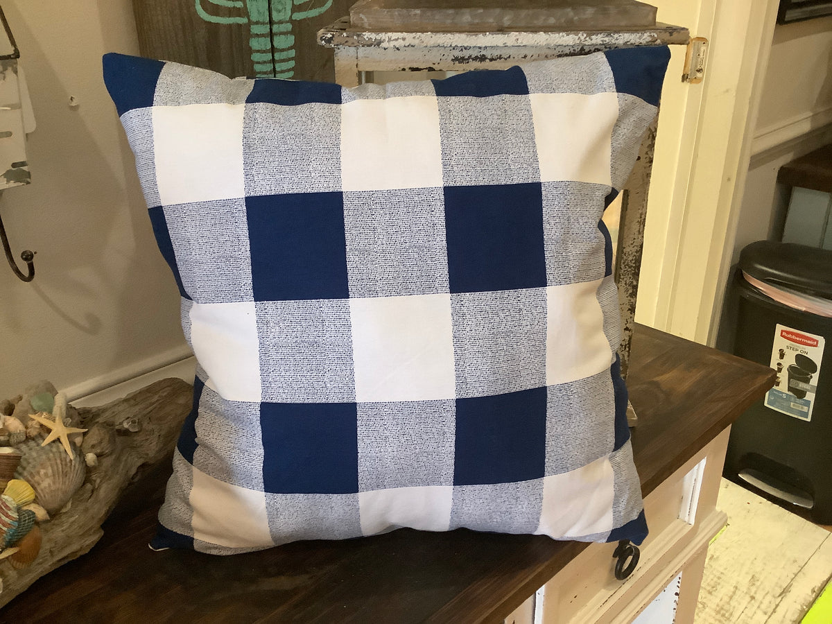 Navy checked pillow