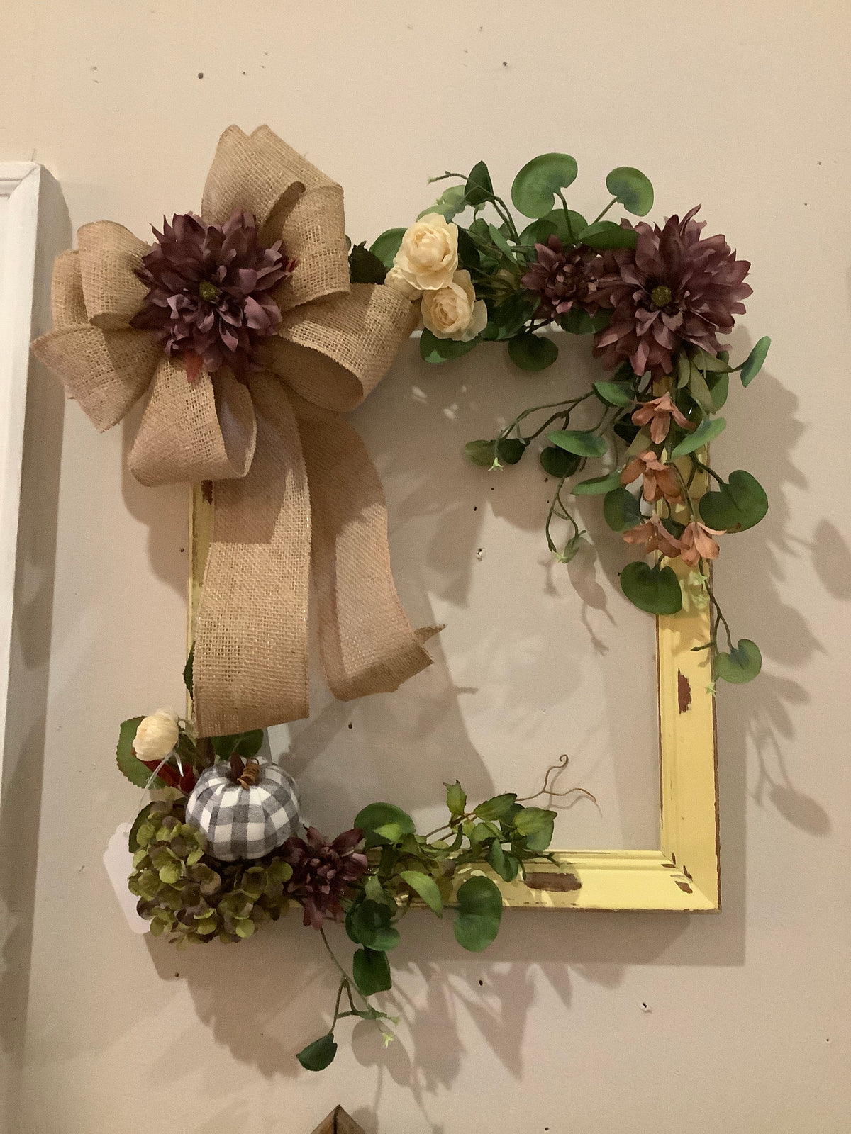Fall flower frame wreath