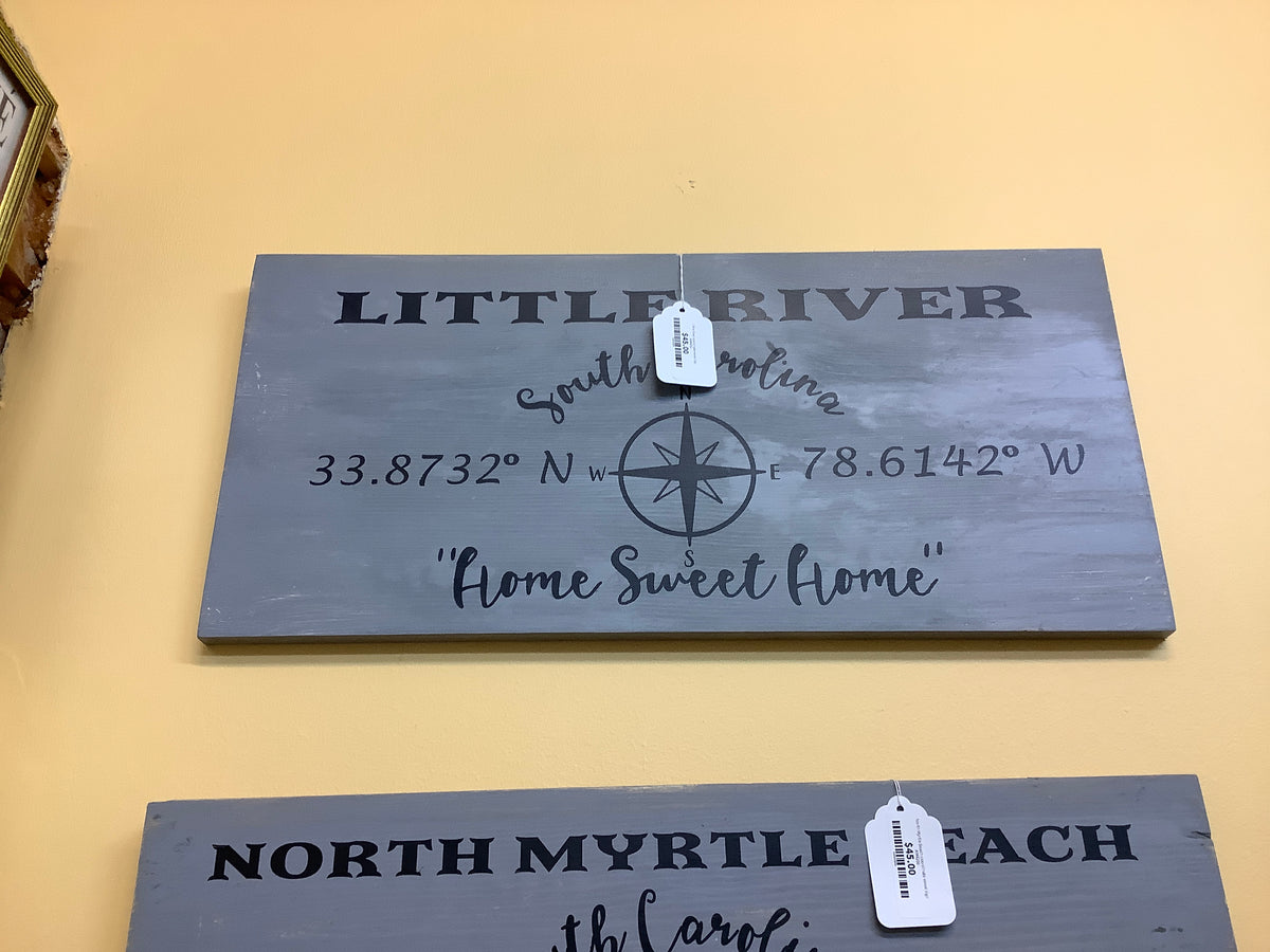 Little River coordinate wood sign