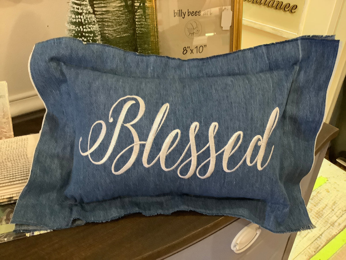 Blessed denim pillow