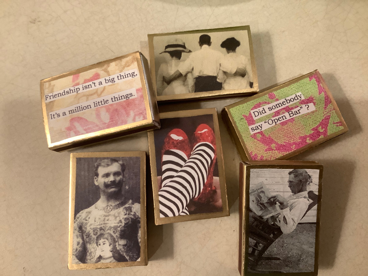 Vintage matchbox with picture and saying