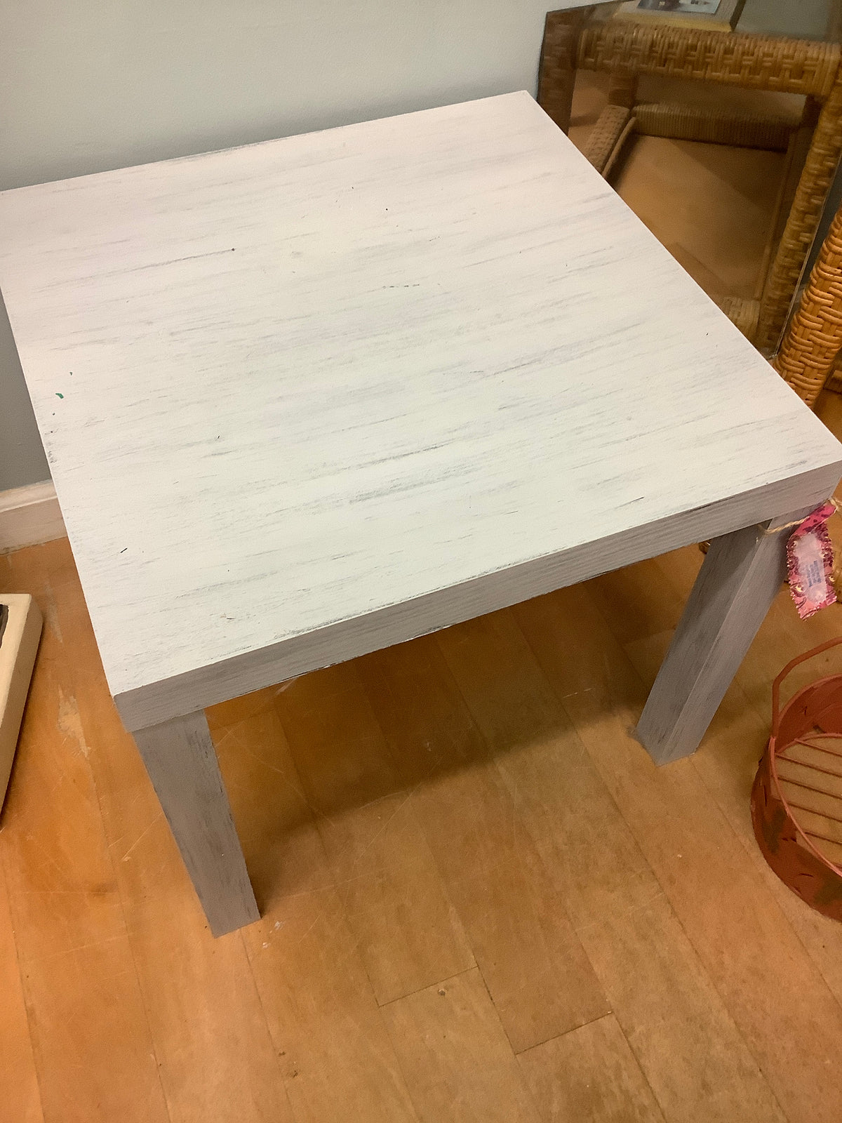 Gray distressed side table