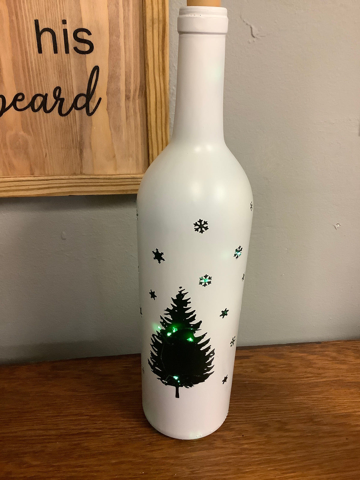 Christmas decorated bottle that lights up