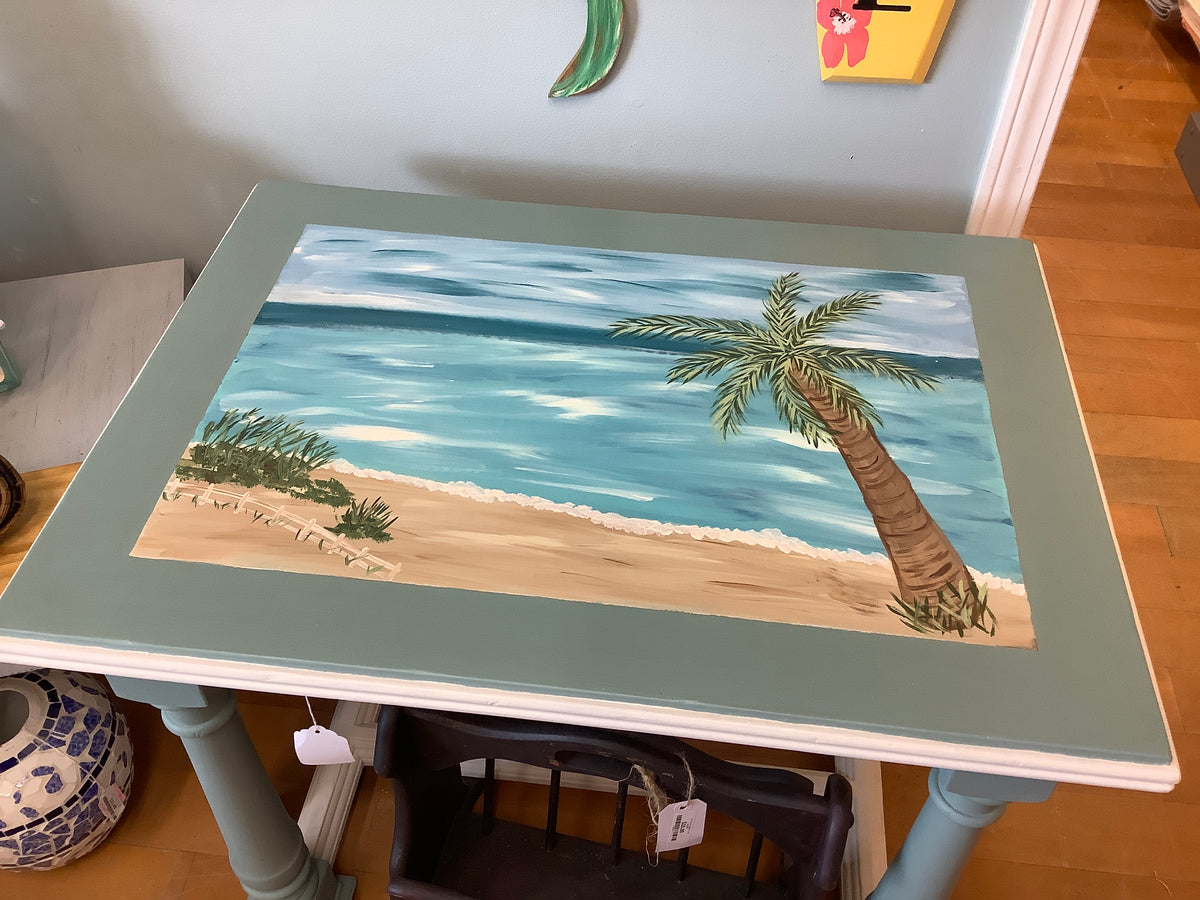 Beach scene painted table