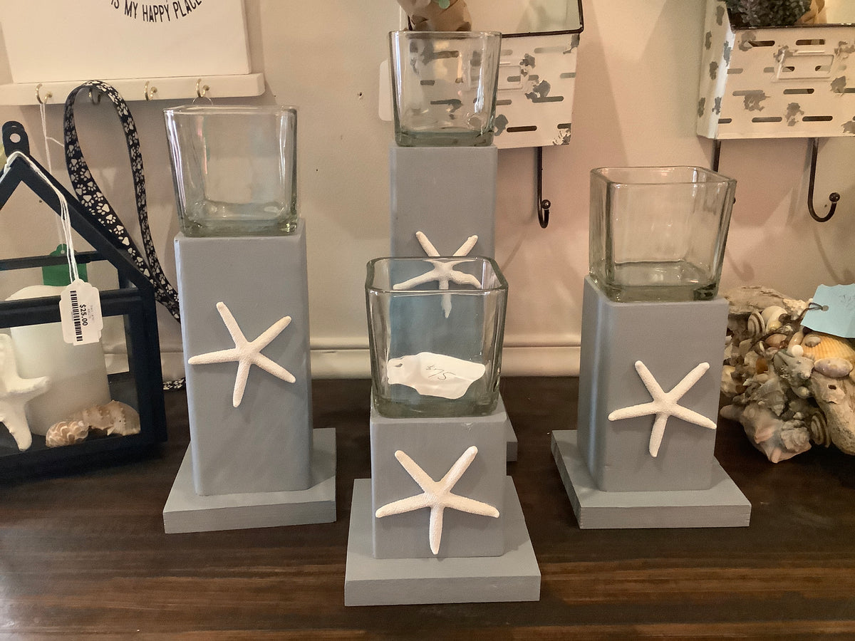 Set of 4 starfish wood candle holders