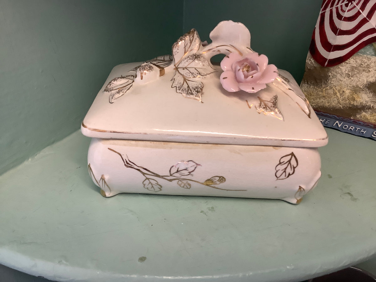 White china lidded jewelry box