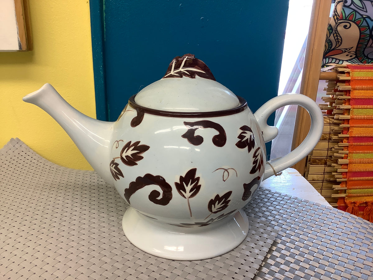 Blue and brown teapot