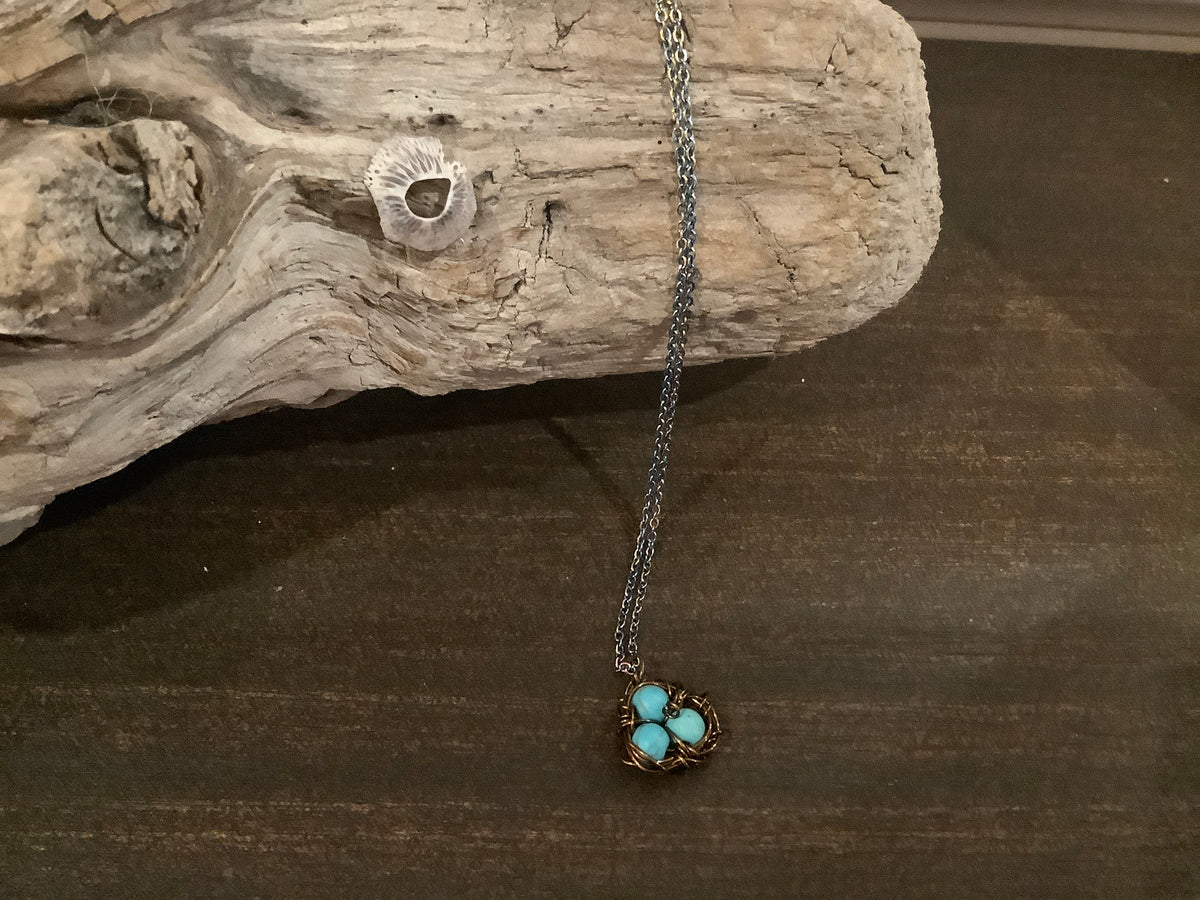 Bird nest necklace with silver chain