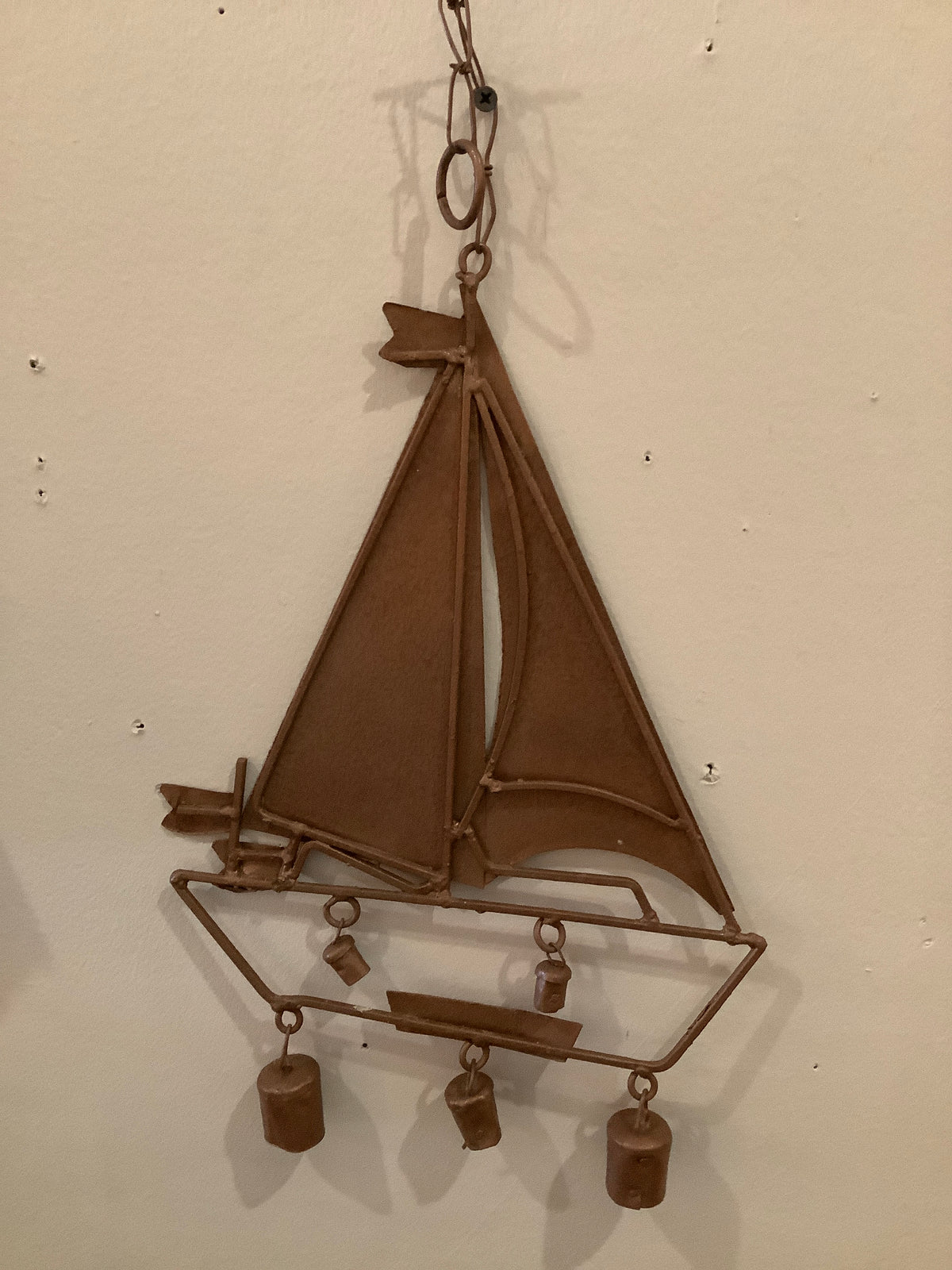 Copper sailboat chimes
