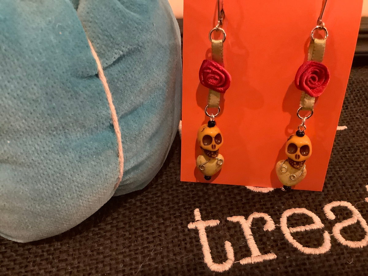 Red rose sugar skull drop earrings