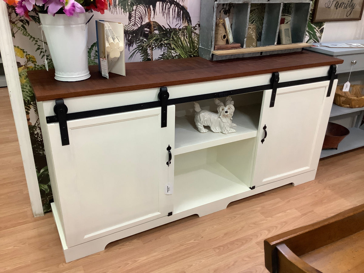 White sliding door console