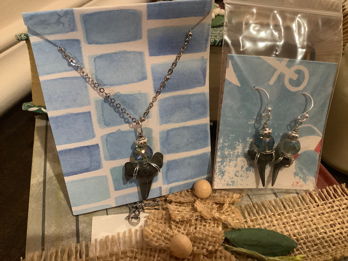 Shark tooth necklace and earring set