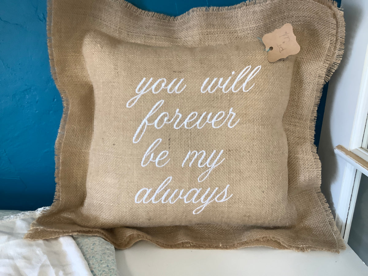 "Burlap Embroidered Pillow 20""x20"""