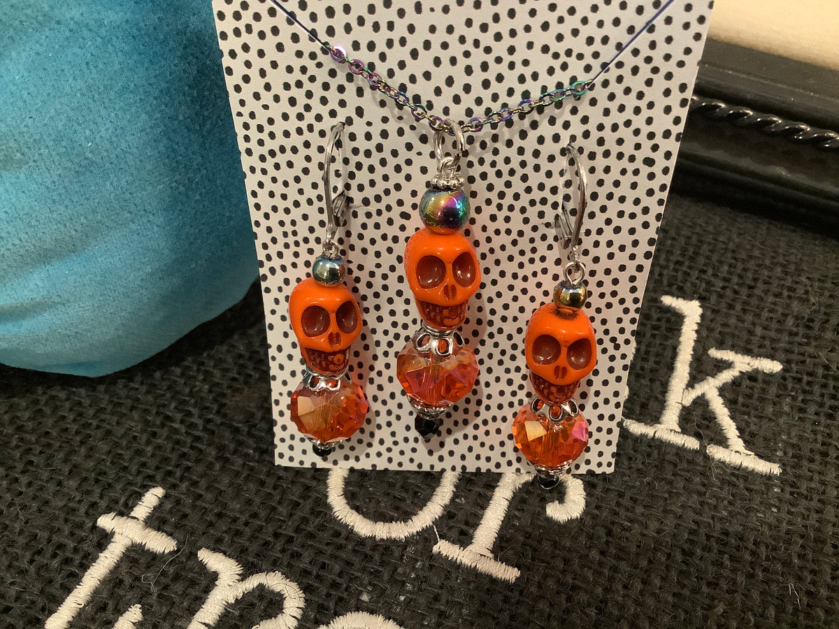 Orange glass bead sugar skull jewelry set