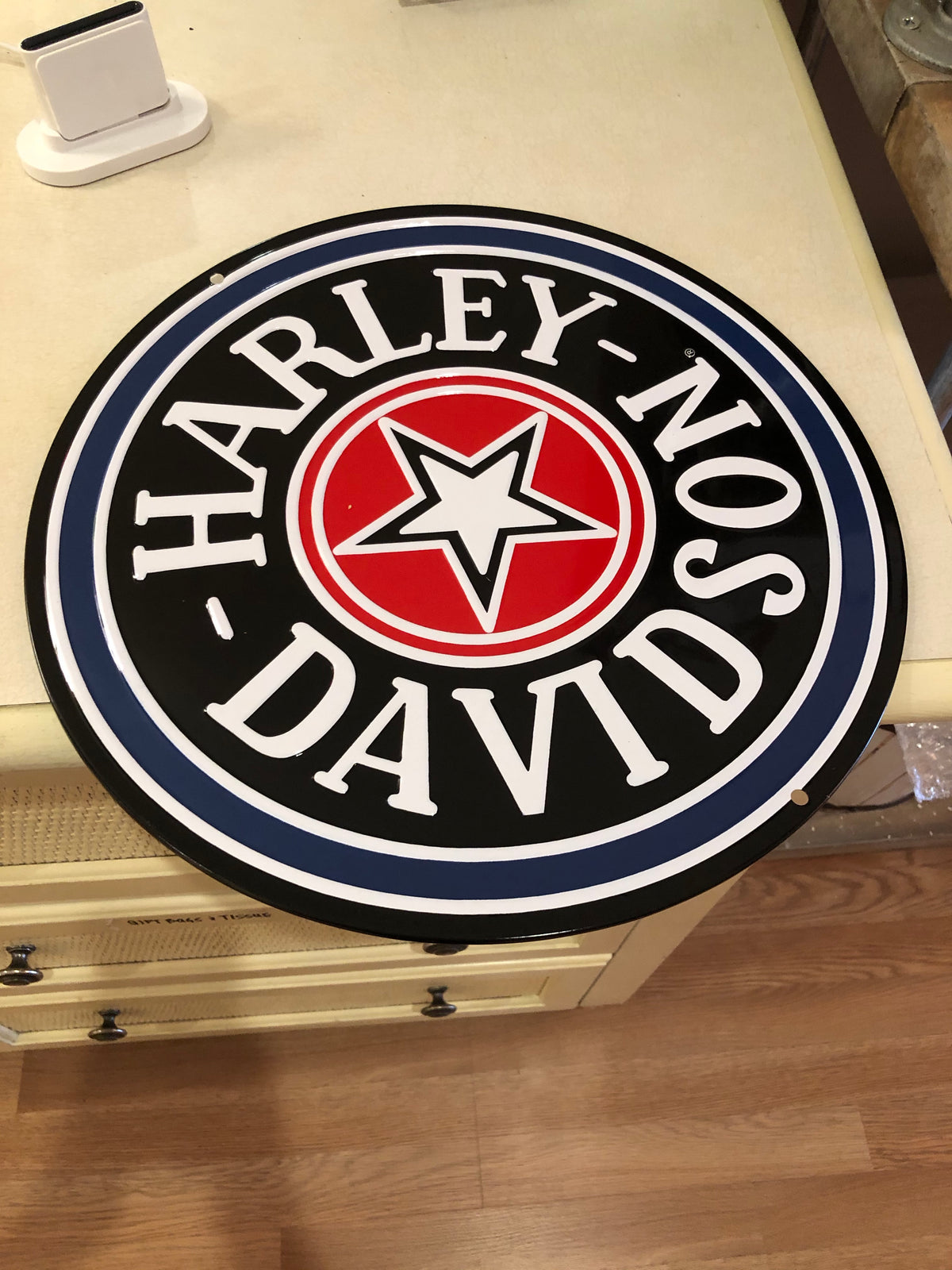 Harley-Davidson gas cap sign