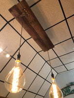 Reclaimed wood chandelair w/ 2 bulbs