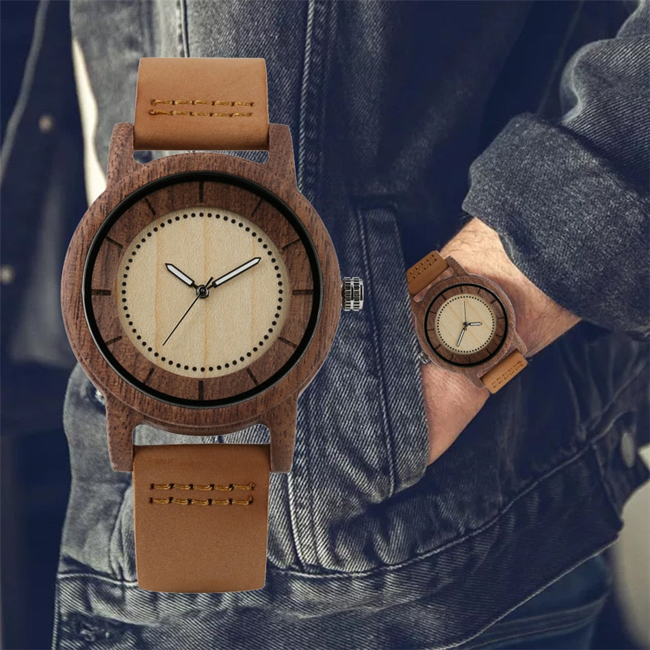 Clieu - The Leather Wood Coffee Watch